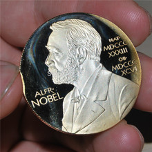 Sample order,1pcs/lot,The Nobel Prize in Physiology or Medicine Gold Plated Coin Nobel Head Portrait Coin цена