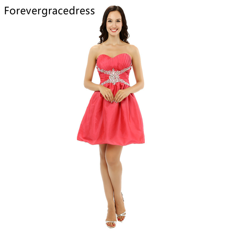 Forevergracedress 2018 Sexy A Line Coral   Cocktail     Dress   New Arrival Sleeveless Short Evening Party Gown Plus Size Custom Made