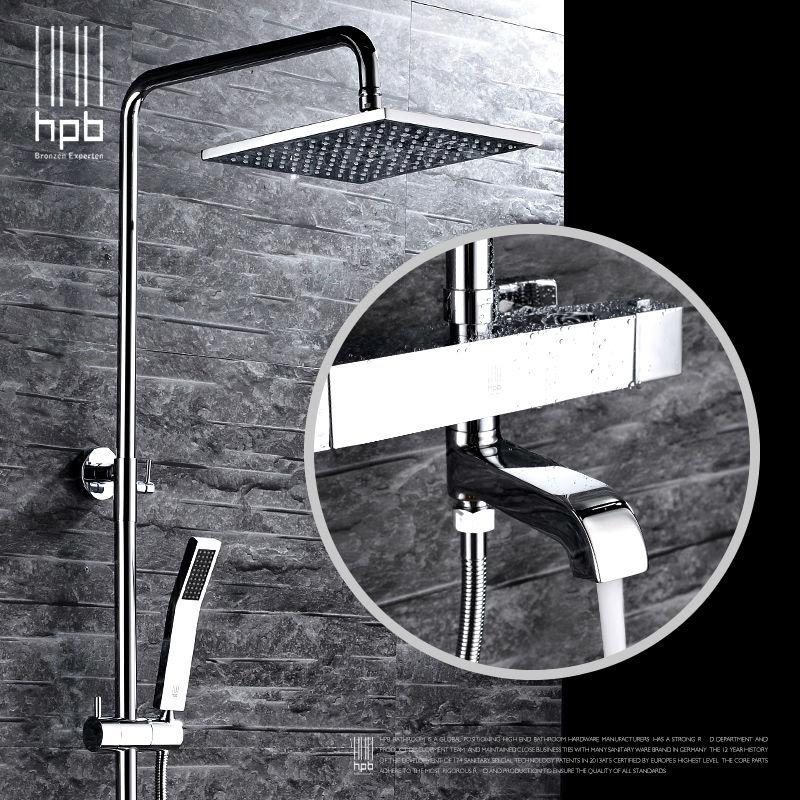 HPB Messing Thermostat Bad Heißem Und Kaltem Wasser Mixer Badewanne Dusche Wasserhahn Set torneira banheiro Duschkopf HP2106a