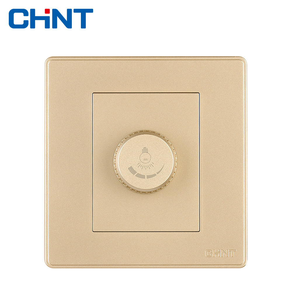 CHINT Knob Switch Wall Socket NEW2D Light Champagne Gold Dimmer