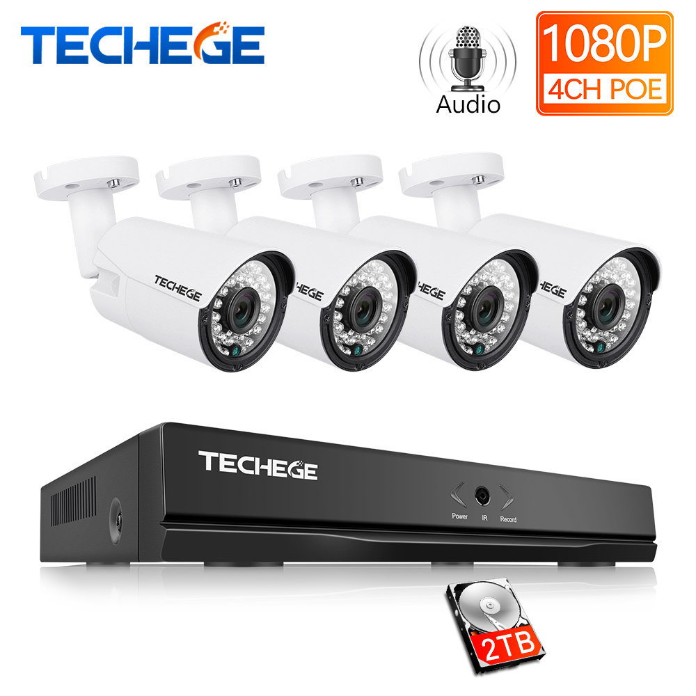 Techege 4CH CCTV System 1080P PoE NVR Metal Outdoor 2 0MP IP Camera System Onvif Cloud
