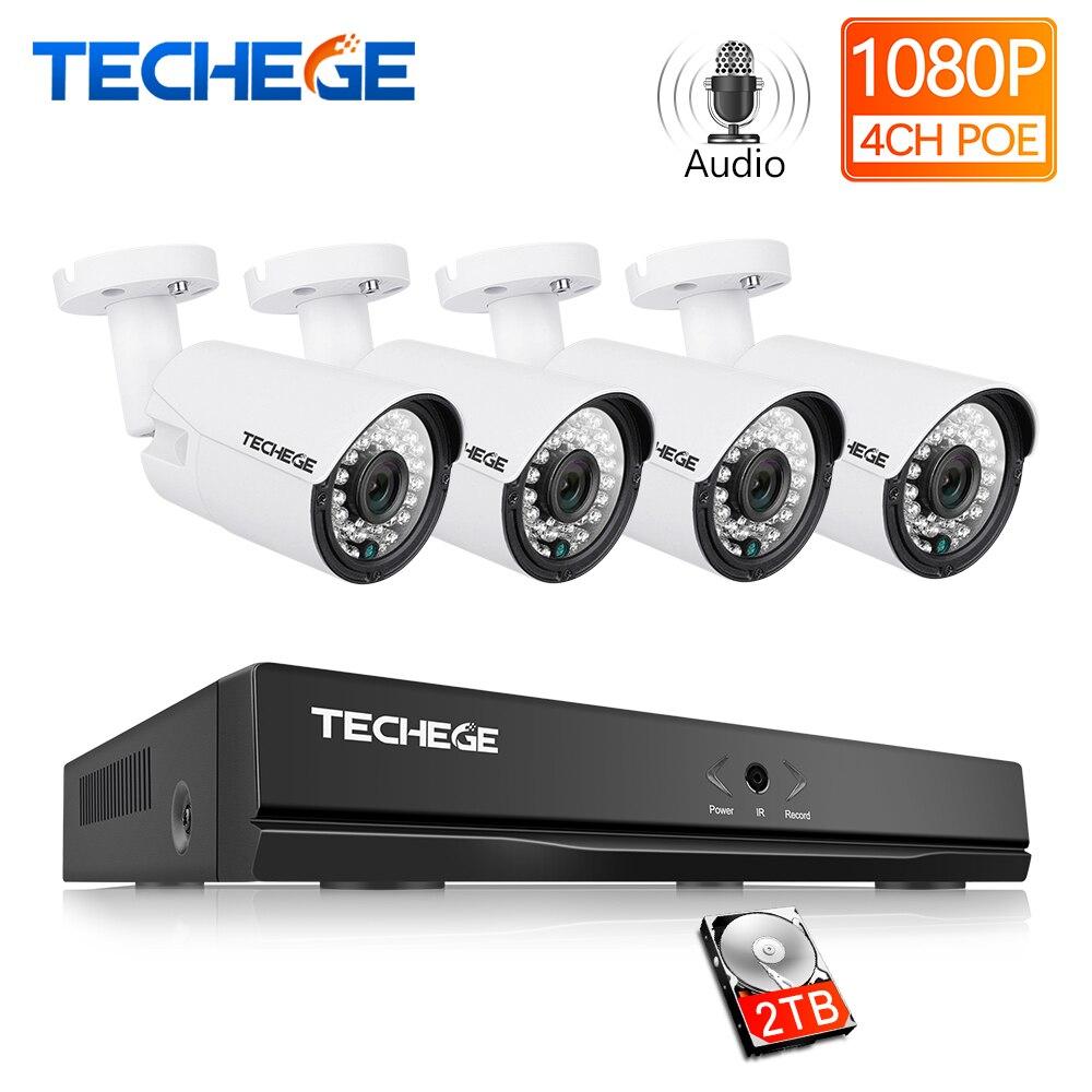 Techege 4CH 2.0MP De Metal Ao Ar Livre Sistema de CCTV 1080 P PoE NVR Sistema de Câmera IP Onvif Nuvem 1080 NVR KIT Movimento detecção de Visão Noturna