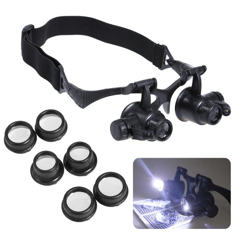 Tragen LED Lupe 10X 15X 20X 25X Lupe Brillen Linse Lupe Juwelier Uhr Uhr Reparatur Werkzeuge