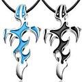 Azul unisex steampunk pingente de cruz homens colar chian colares punk & pingentes para as mulheres homens jóias