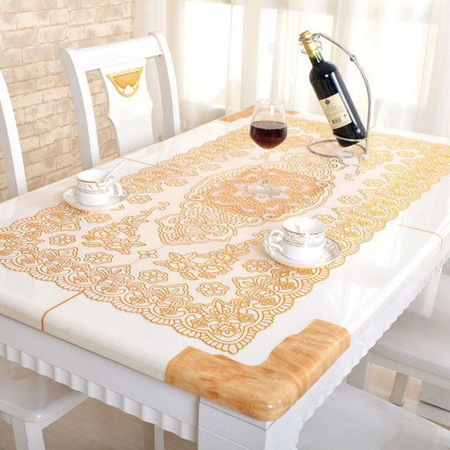 Genial PVC Vinyl Dinning Tablecloth Bronzing Wipe Clean Oilcloth Waterproof  Non Slip Home Decor Oval Rectangular