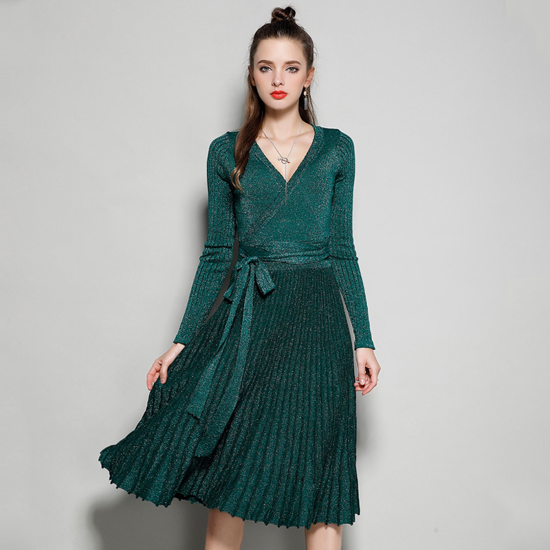 <font><b>2018</b></font> Elegant Shiny Pleated Sweater <font><b>Dress</b></font> Women Long Sleeve <font><b>Sexy</b></font> V-Neck Female Sash Glitter A-line <font><b>Luxury</b></font> Knit <font><b>Dresses</b></font> Party image