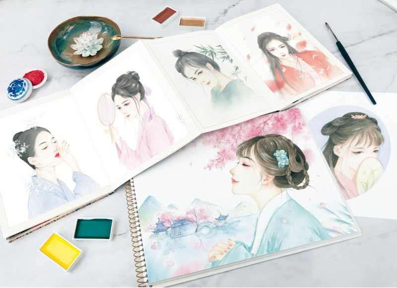 Detail Feedback Questions about Chinese Ancient Beauty Watercolor ...
