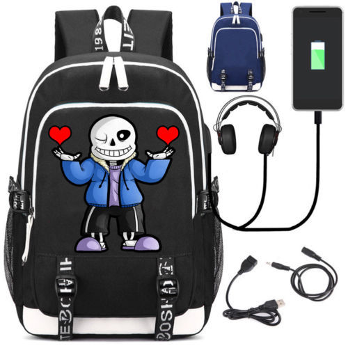 Hot Game Undertale Sans Laptop Backpack USB Charge Interface BlackAnime Shoulder School Bags Pocketbook Travel Fashion Work Bags new anime gravity falls bill school backpack usb charge interface laptop travel bag unisex black shoulder travel bags