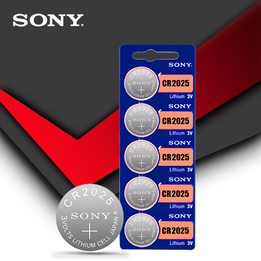 5PCS/LOT SONY Original cr2025 Button Cell Batteries cr2025 3V Lithium Coin Battery For Watch Calculator Weight Scale(China)
