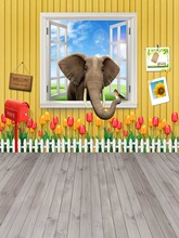 New arrival lovely carton elephant flower children Photography Backdrop Printing backdrop for photo studio