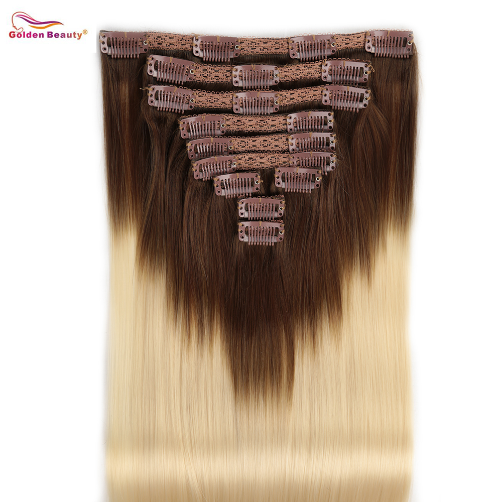 10Pcs 20 Clips Thick Straight Full Head Clip in Synthetic Hair Extensions Double Weft Golden Beauty