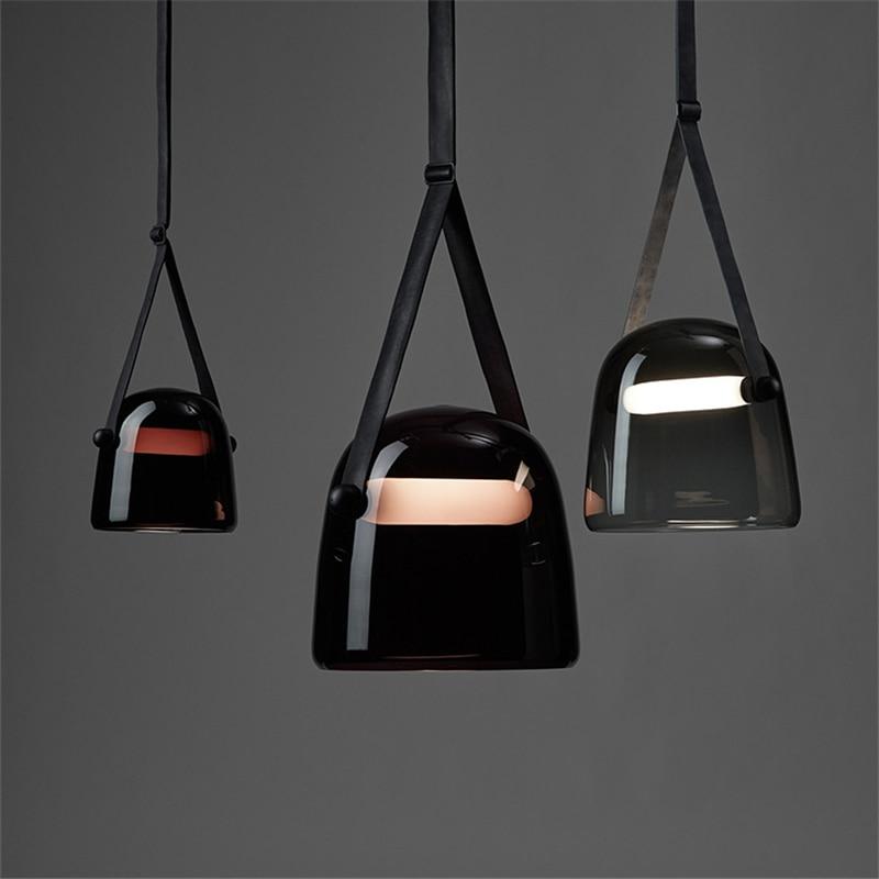 Image 2 - Post modern Glass Pendant Lights Mona Led Belt Hanging Lamp Living Room Kitchen Light Fixtures Home Decor Suspension Luminaire-in Pendant Lights from Lights & Lighting