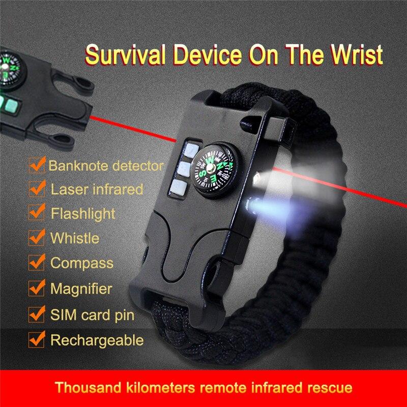 7 in 1 Paracord Survival Bracelet Multifunctional Laser Flashlight Bracelet Hand-woven Infrared For Camping Equipment Tool