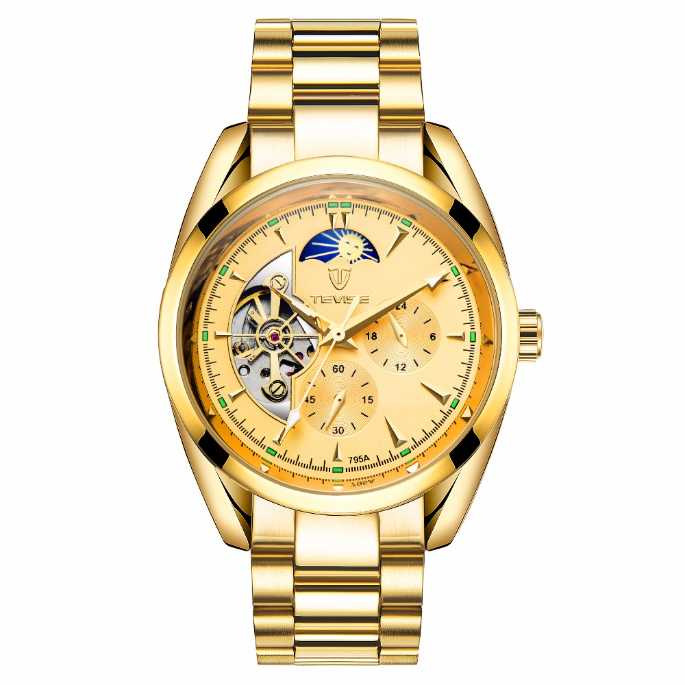TEVISE Moon Phase Watch Men Classic Tourbillon Mechanical Watches Automatic Mens erkek kol saati
