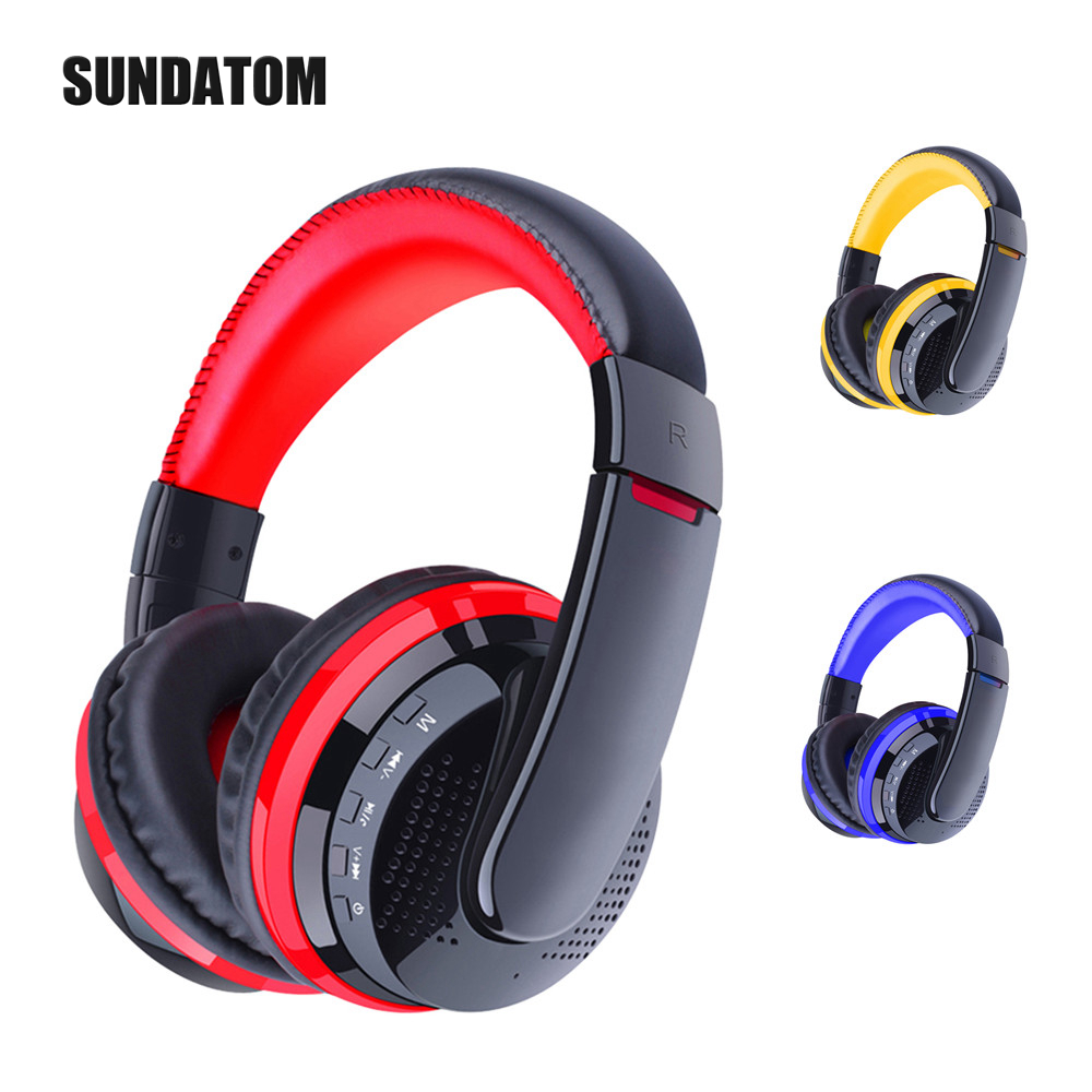SUNDATOM Bluetooth 4.0 Gaming Headphone Wireless Stereo Super Bass Headset TF Card FM Radio Handsfree Headband Earphone With Mic