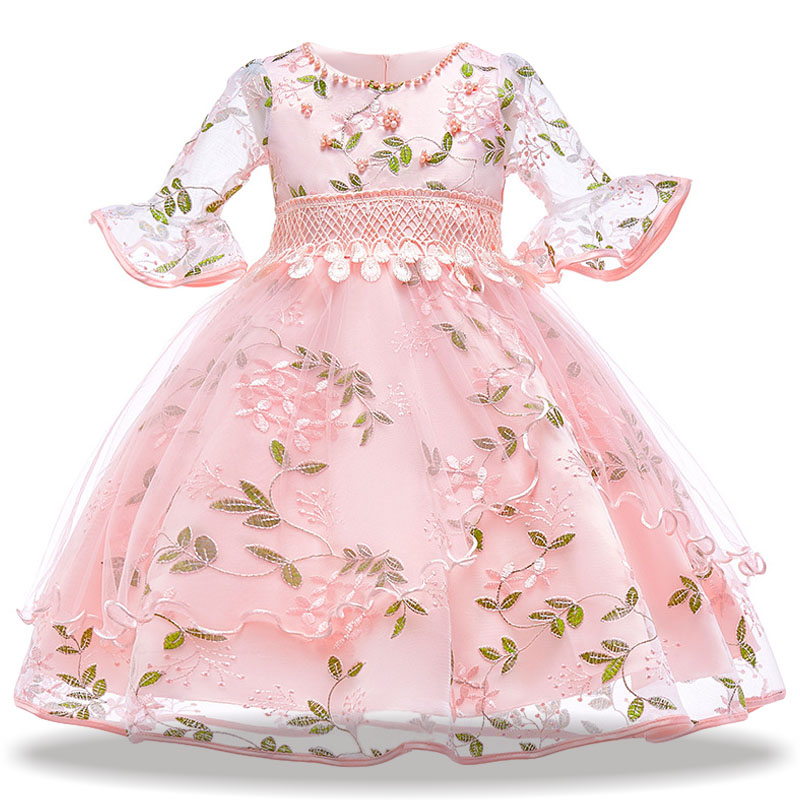 Pink embroidery Kids Girls Flower Dress Baby Girl Birthday Party Dresses Children Fancy Princess Ball Gown Wedding for girls erapinky fancy dresses for girls 2018 birthday party princess dress green ball gown dress peacock halloween costume for kids