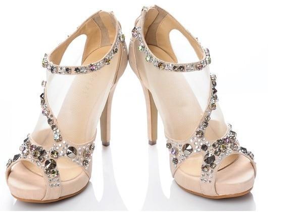2016 Красивых Peep Toe Кристалл Сексуальная Горный Хрусталь Шпильках Сандалии Платформы Принцесса Обувь Свадебные Платья ShoesWomen обувь