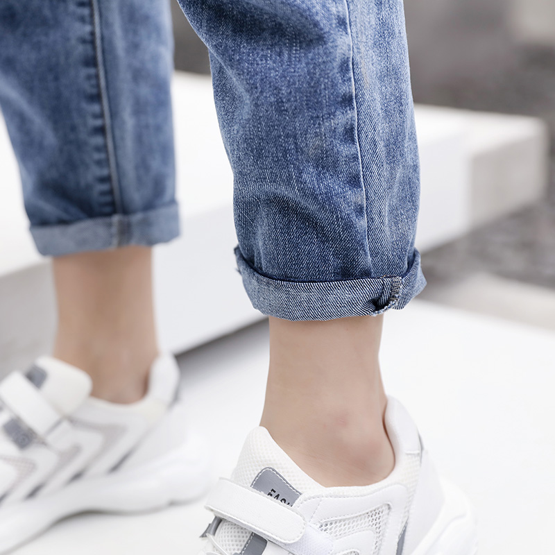 New Women's Wear in 2019  Blue jeans  Leisure fashion  Simple and cool  Women's jeans straps