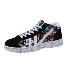 Men's Multicolor Printed Sneakers Student Board Shoe High-top Lace-up Male Flats Large Size Man Casual Shoes chaussure homme(China)