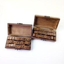 Freeshipping! 30 pcs/set NEW uppercase & lowercase Wood stamp Set/Wooden Box/Multi-purpose DIY funny work/Wholesale