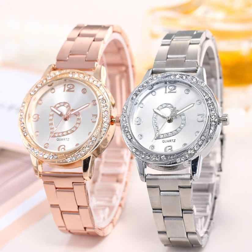 Reloj de cuarzo con correa de acero inoxidable plateado y oro rosa, reloj de pulsera para mujer, reloj de pulsera analógico de cuarzo redondo, relojes para mujer 2018