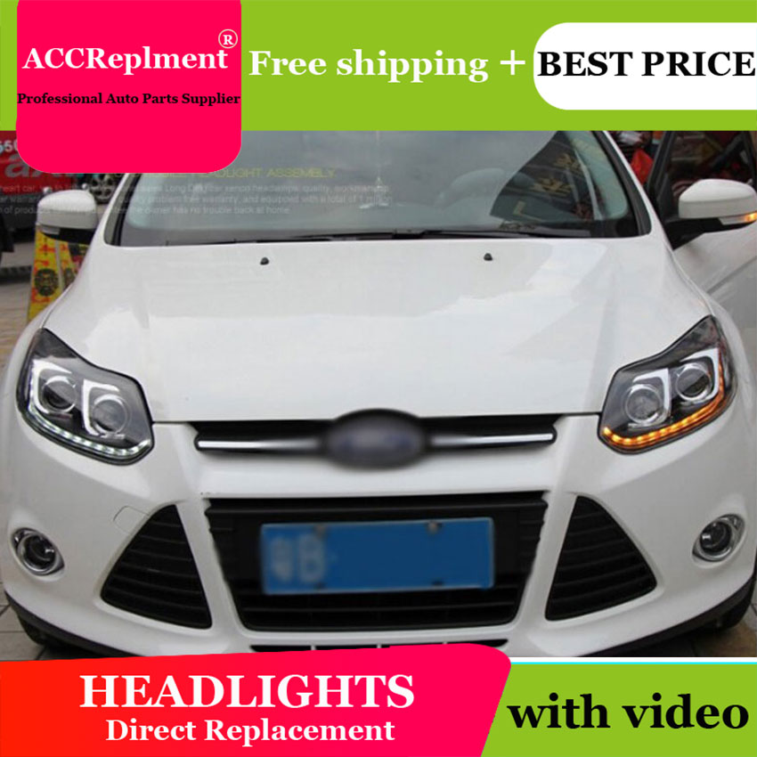 AUTO.PRO headlights For ford focus 2012 2014 Q5 bi xenon lens+LED light guide DRL+H7 HID Kit car styling LED headlamps For focus auto pro for honda fit headlights 2014 2017 models car styling led car styling xenon lens car light led bar h7 led parking