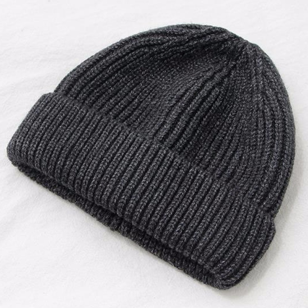 Hip Hop Style Men Winter Warm Cover Head Hat Solid Color Woolen Yarn Knitted Caps Outdoor Beanies Unisex