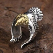 цена Silver plated jewelry vintage eagle spread wings open eagle ring