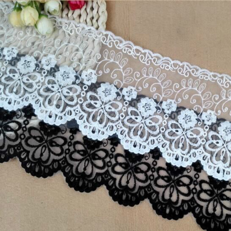 Lace-Fabric For Clothing Decoration Eugen Water-Soluble And White Black 3yards/Lot