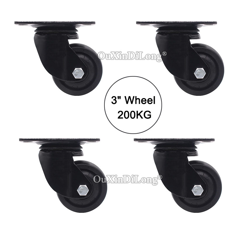 4PCS 3 Heavy duty wheel universal wheel industrial machinery equipment casters Load Bearing 200kg/pcs JF1637