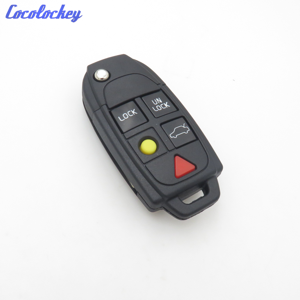 Cocolockey Flip Key Shell fit for VOLVO S60 S80 V70 XC70 XC90 5 Button Remote Case Fob