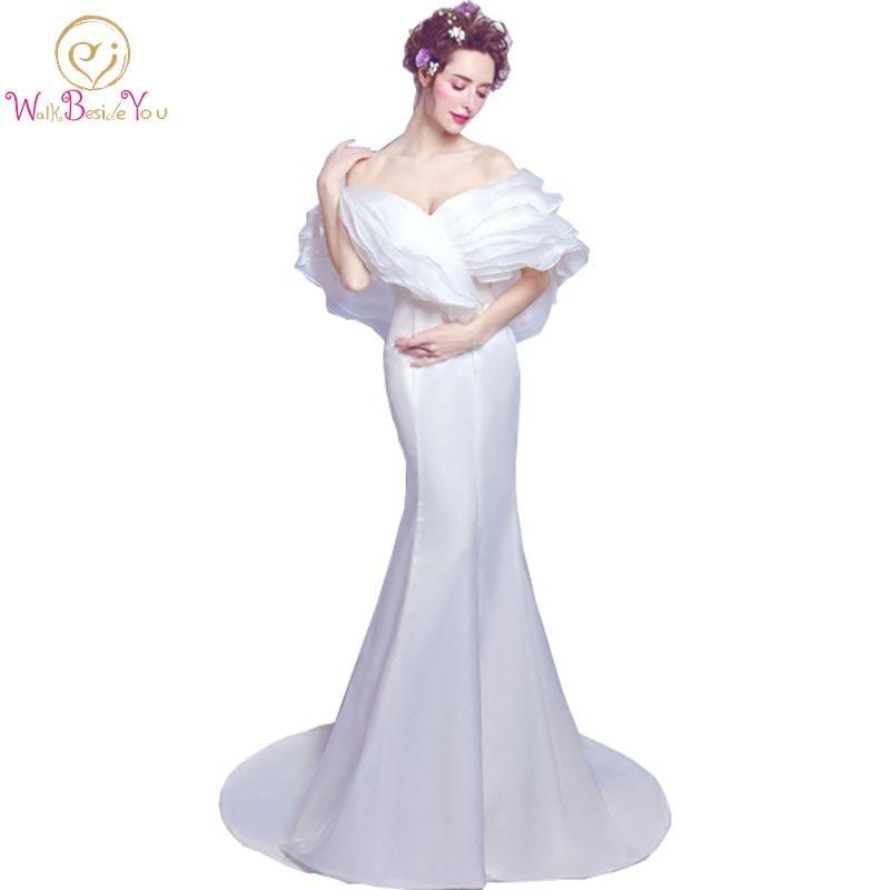 Vestidos de noite вечерние платья бежевое платье soiree longue femme с открытыми плечами атласная органза возлюбленная Русалка торжественное платье