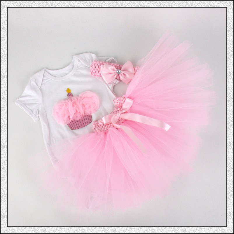 3Pcs/Set Baby Girl Crown Tutu Dress Infant 1st Birthday Party Outfit Romper Bubble Skirt Headband Bebe Newborns Tulle Vestidos baby girl infant 3pcs clothing sets tutu romper dress jumpersuit one or two yrs old bebe party birthday suit costumes vestidos