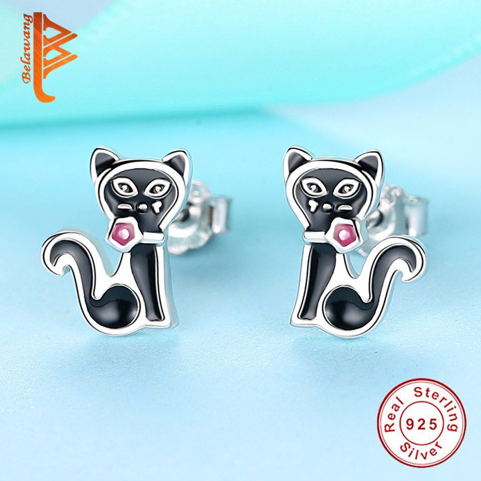 Children/'s Ladies Sterling Silver Black Cat  Stud earrings