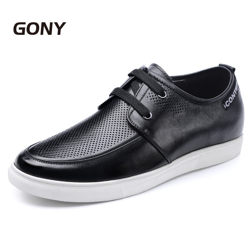 New Summer Style Men Casual Breathable Leather Shoes Height Increasing Elevator Shoes Get Taller 6 CM/2.36 Inches 2 36 inches taller height increasing elevator shoes black blue red casual leather shoes soft sole soft surface driving shoes