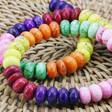 5x8mm Colorful DIY  Abacus BeadsTurkey Howlite Chalcedony Loose Stone Parts Jewelry Making Women Gifts 15inch Accessories