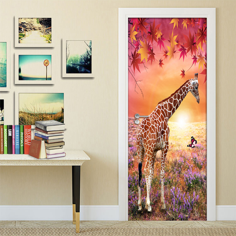 Maple Leaf Giraffe 3D Nature Landscape DIY Door Sticker PVC Mural Wallpaper For Living Room Bedroom Wall Paper Home Decor ModernMaple Leaf Giraffe 3D Nature Landscape DIY Door Sticker PVC Mural Wallpaper For Living Room Bedroom Wall Paper Home Decor Modern