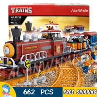 662pcs AlanWhale Classical American Steam locomotive Train Figure Building Blocks Playset Railway DIY Compatible With LegoING