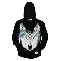 New Men Winter Jacket Casual Style 3D Printing Wolf Outwear Autumn Male Jacket Hoody Long Sleeve Sportwear Warm Zipper Coat