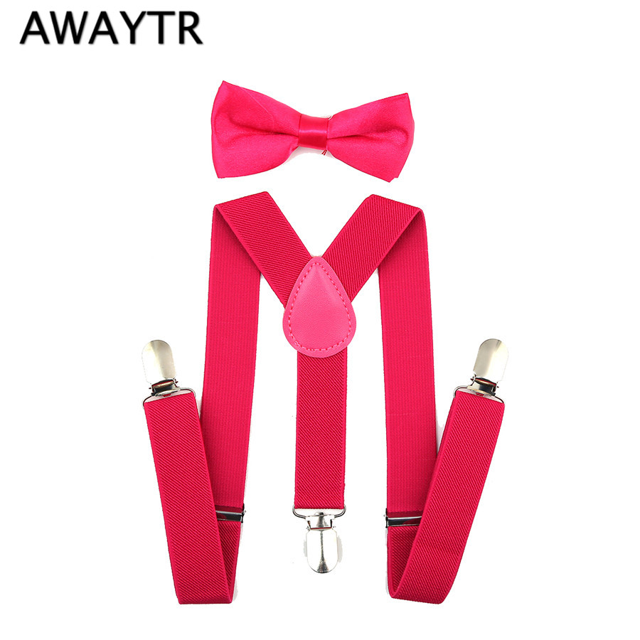Baby Boy's Bow Ties Suspenders Kids Children Rose Red Bow Tie & Suspender Set School Boys Girls Party Clothing Accessories