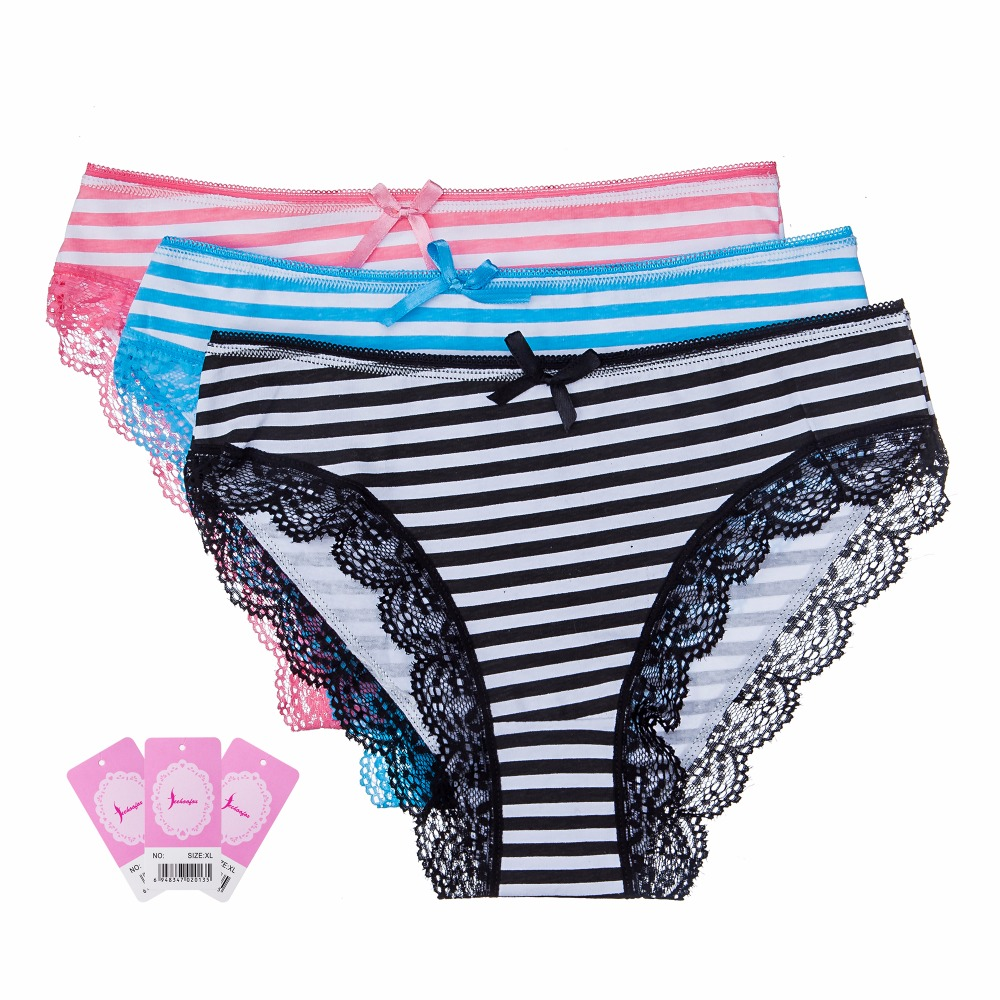 Buy Feehoofox 3 Pieces/lot Women's Underwear Cotton Sexy Lace Panties Girls Ladies Everyday Briefs Lingerie Knickers Women