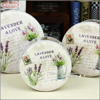New Lavender Love Iron Food Container 3pc Set Round Shape Iron Box Metal Storage Box Handmade