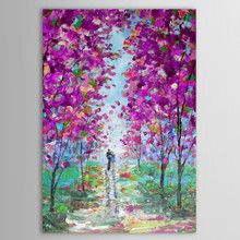 Large Knife 3D Tree Hand Oil Painted Wall Painting Home Decor Art of Purple Trees Landscape on Canvas