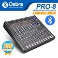 Профессиональный Debra Audio PRO 8 каналов с 256 DSP звуковыми эффектами Bluetooth студийный миксер аудио-DJ звуковой контроллер Interf