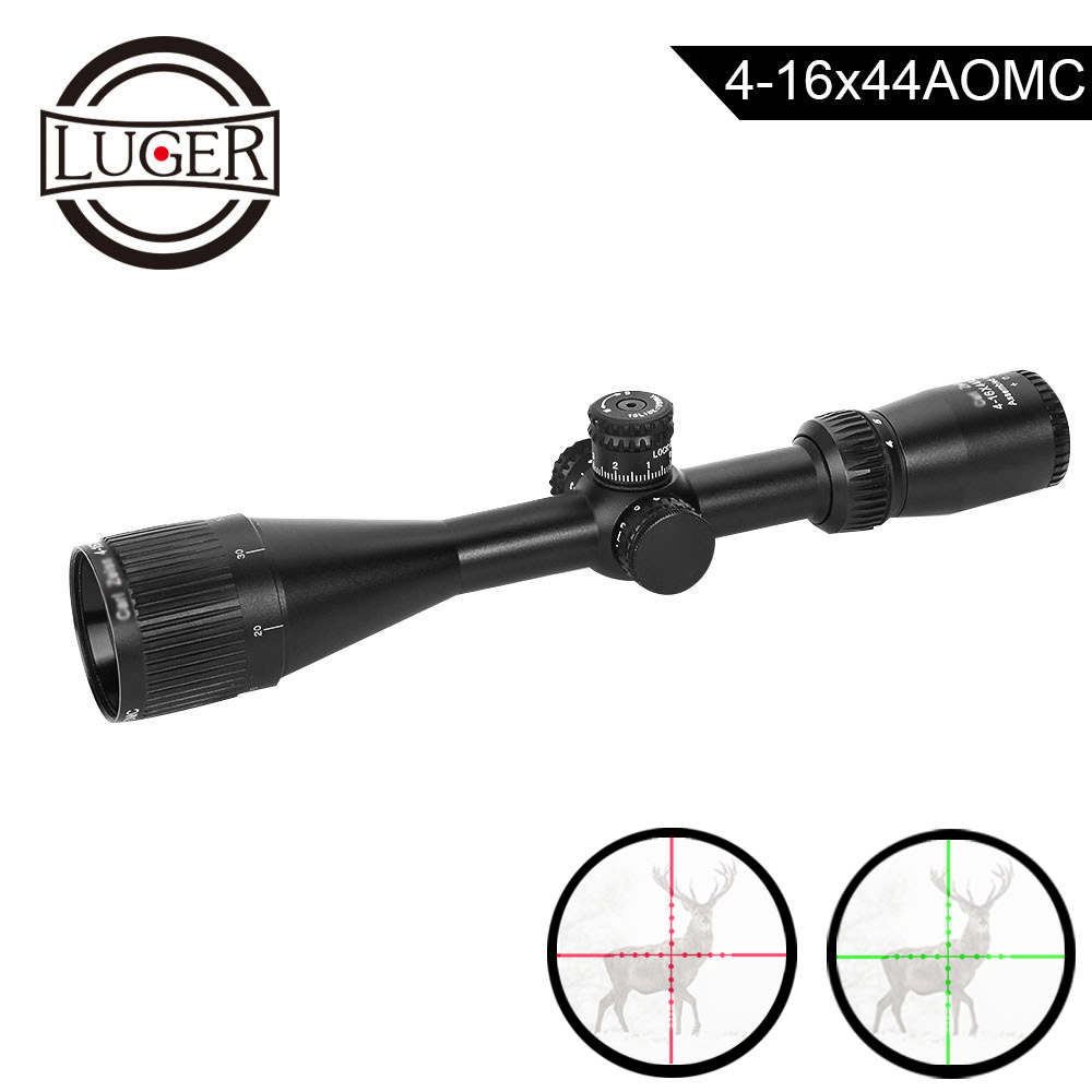 LUGER 4-16x44AOMC Riflescope Red Green Mildot Hunting Optical Sight Scope Air Rifle Gun Tactical Reticle Sight Scope