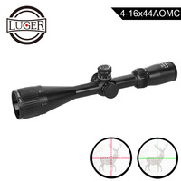 LUGER 4 16x44AOMC Riflescope Red Green Mildot Hunting Optical Sight Scope Air Rifle Gun Tactical Reticle Sight Scope