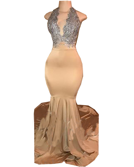 9af54f7d3a6d 2018 Halter Spandex chiffon Mermaid Long Prom Dresses Silver Lace Applique  Backless Sweep Train Formal Party