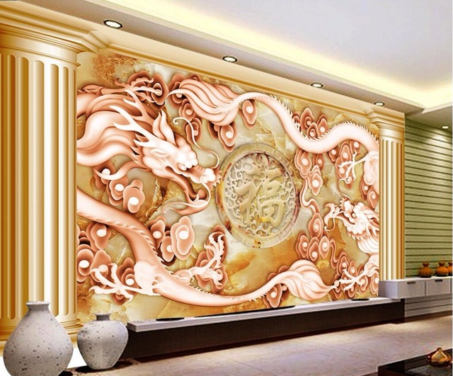 Beibehang Fond Décran Personnalisé Européenne Rétro Or Dragon Colonne Romaine 3d Relief Salon Canapé Tv Mur Photo Murale 3d Papier Peint Dans Fonds