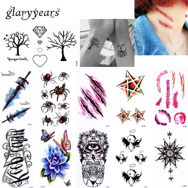 3 3 Glaryyears 21 Pieces Transfert De L Eau Tatouage Temporaire Autocollant Etoiles Coeur Fleur Conception Femmes Hommes Bras Corps Art