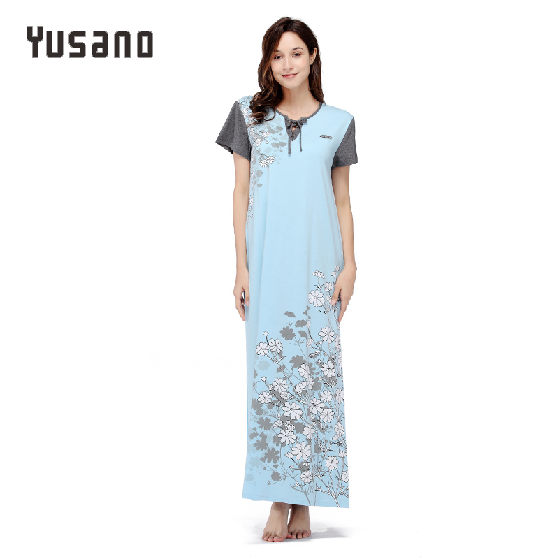 Yusano Nightgowns Women Nightgown Long Cotton Plus Size V-Neck Short Sleeve Floral Print Long Nightdress Nightwear Sleepwear